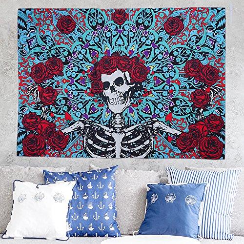 (Fashion Sugar Skull Rose Tapestry Wall Hanging Mandala Wall Art Tapestries Bedspread Picnic Bedsheet Blanket Wall Art Hippie Tapestry (150cm x130cm))