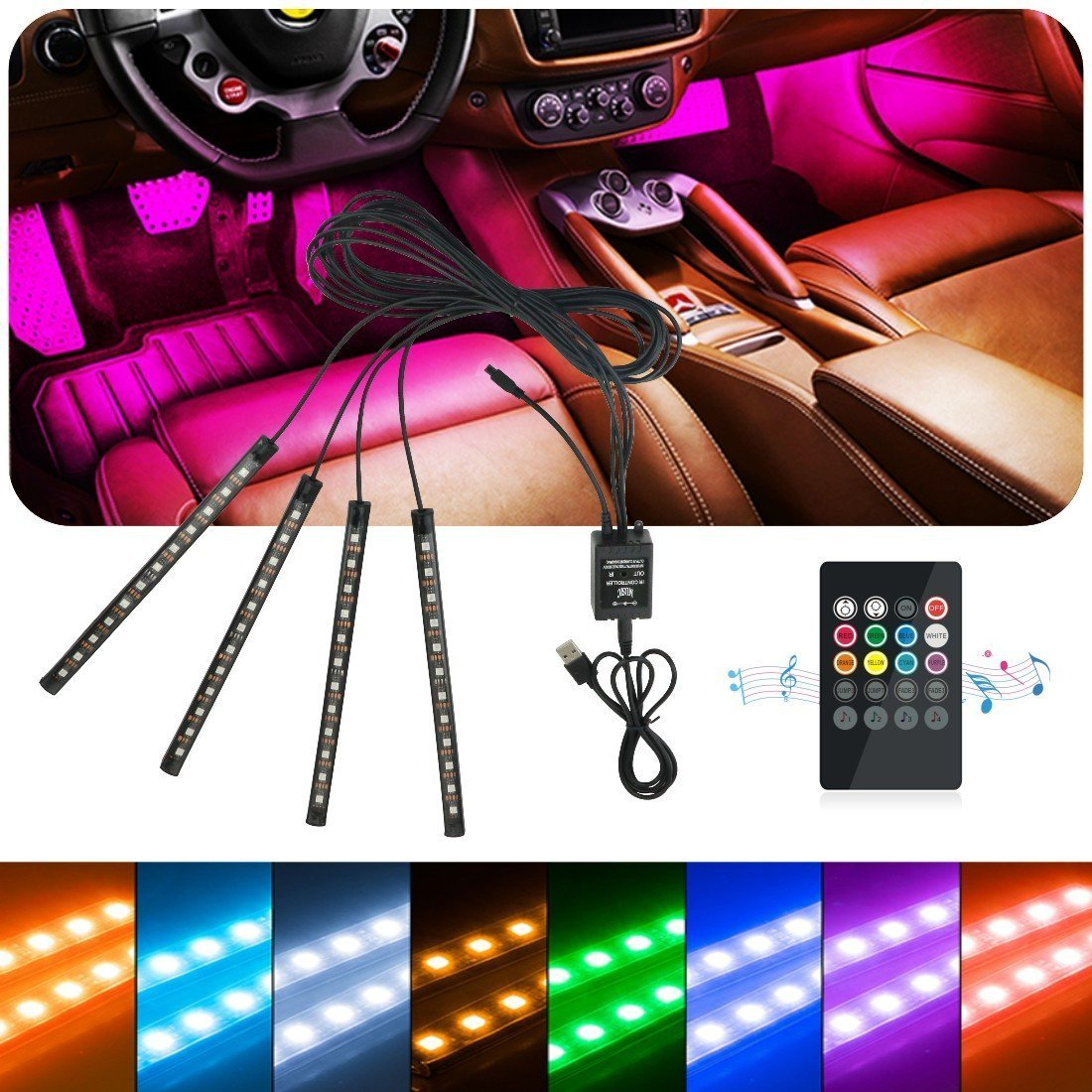 Idefair(TM) Car LED Strip Interior Light,48LEDs Multicolor Waterproof Music Car Interior Underdash Lighting Kit for Truck Van Lorry Motorcycle,with Sound Active Function,Wireless Remote