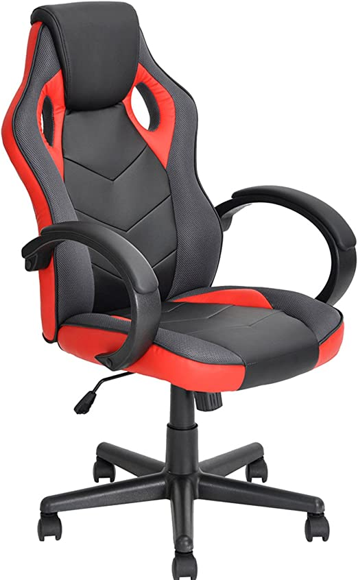 Amazon Com Coavas Gaming Chair Office Desk Chair High Back Ergonomic Game Racing Chair Pu Leather Executive Swivel Computer Task Chair For Students Black Red Home Kitchen