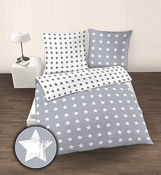 Bierbaum Biber Bettwäsche 135x200cm 2 Tlg Sterne Stars Grau Weiß