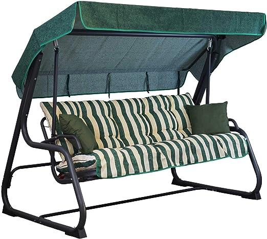 Tecnoweb - Cojines para balancín de 4 plazas - Incluido también el techo a juego - 100% Fabricado en Italia - Ideal para exteriores (jardines y patios) - Estructura no incluida, Rigato Ecru Verde: Amazon.es: Jardín