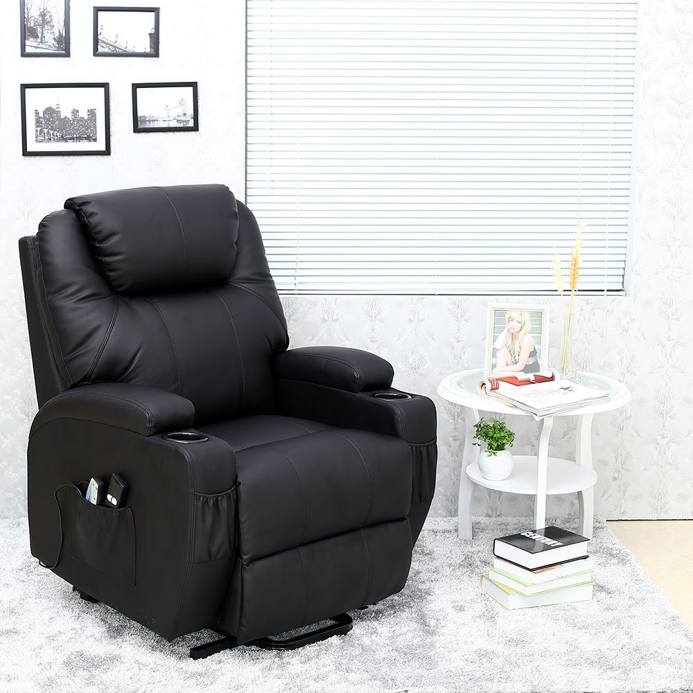 Cinemo Elecrtic Rise Recliner Leather Massage Heat Armchair Sofa Lounge  Chair (Black): Amazon.co.uk: Kitchen U0026 Home
