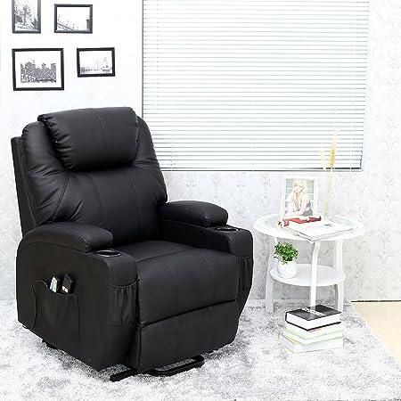 Cinemo Elecrtic Rise Recliner Leather Massage Heat Armchair Sofa Lounge  Chair (Black)