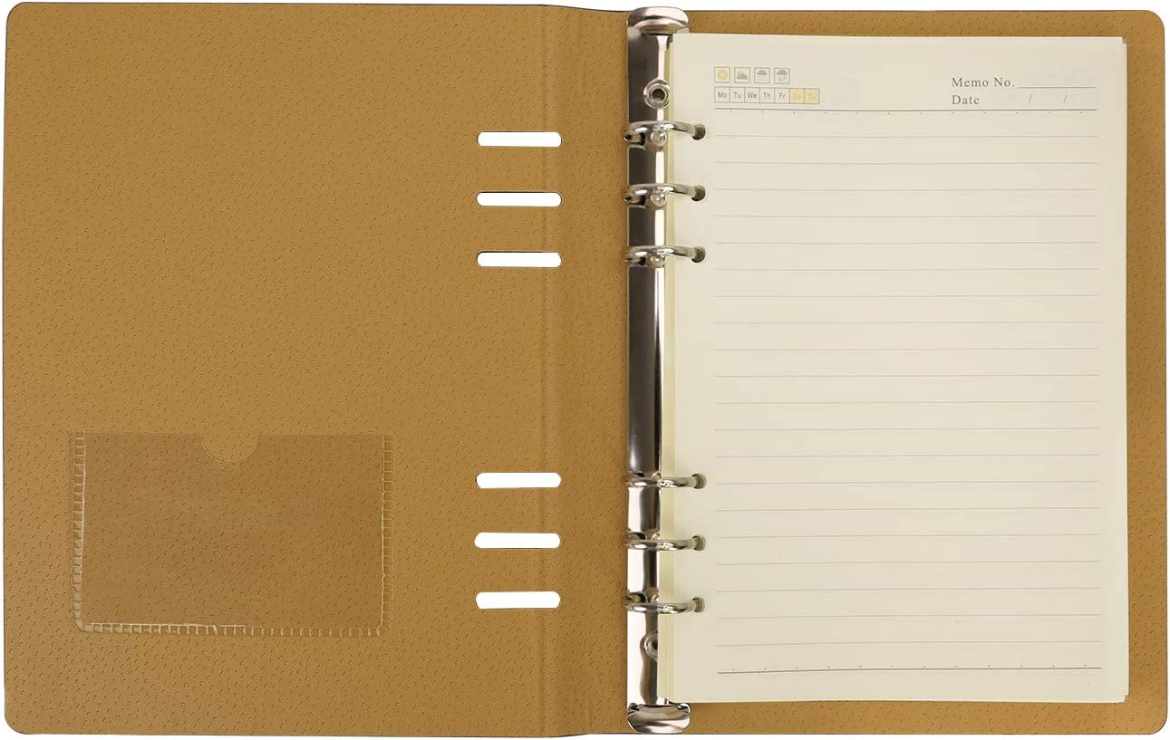 lose Bl/ätter mit Tasche liniert Reisetagebuch PU-Leder f/ür Gesch/äftstreffen Orange A5 nachf/üllbares Notizbuch klassisch Notizblock