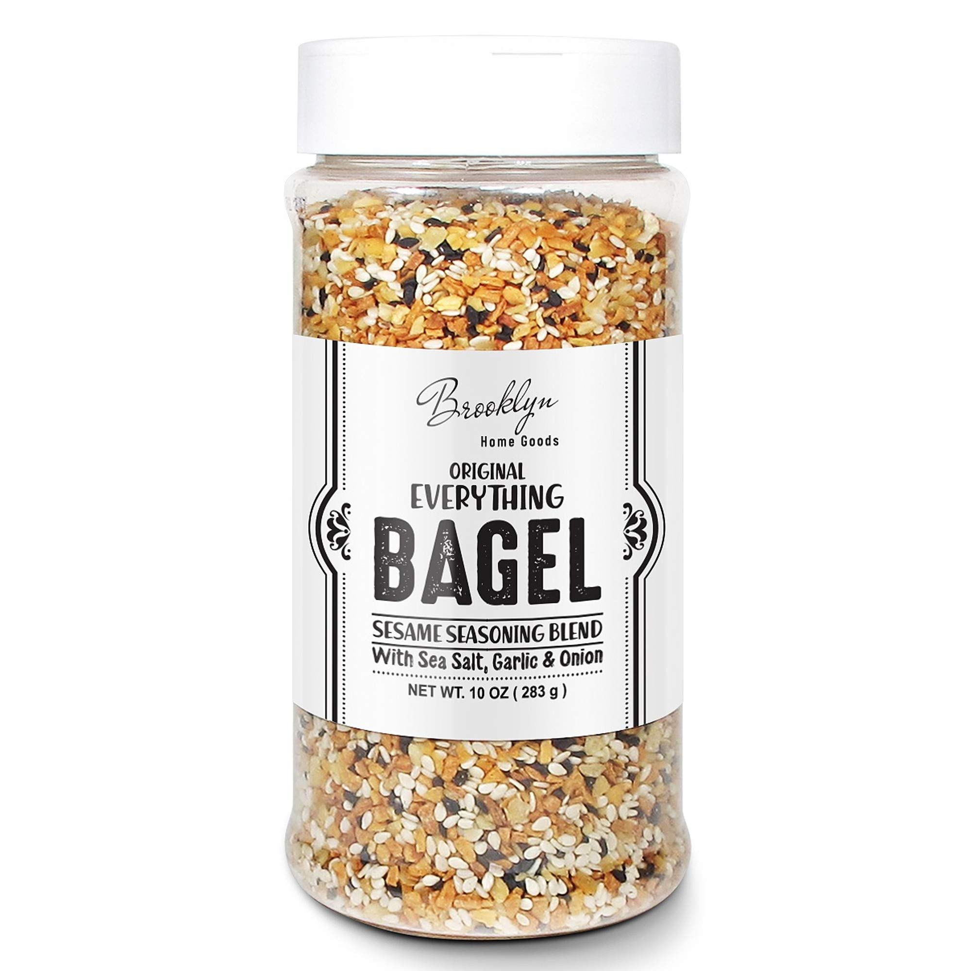 Everything Bagel Seasoning Blend Original XL 10 Ounce Jar - Bagel Allspice, Sesame Seasoning Spice Shaker, Delicious Blend of Sea Salt and Spices Garlic Powder Onion Flakes, Multi seasoning Shaker Bottle