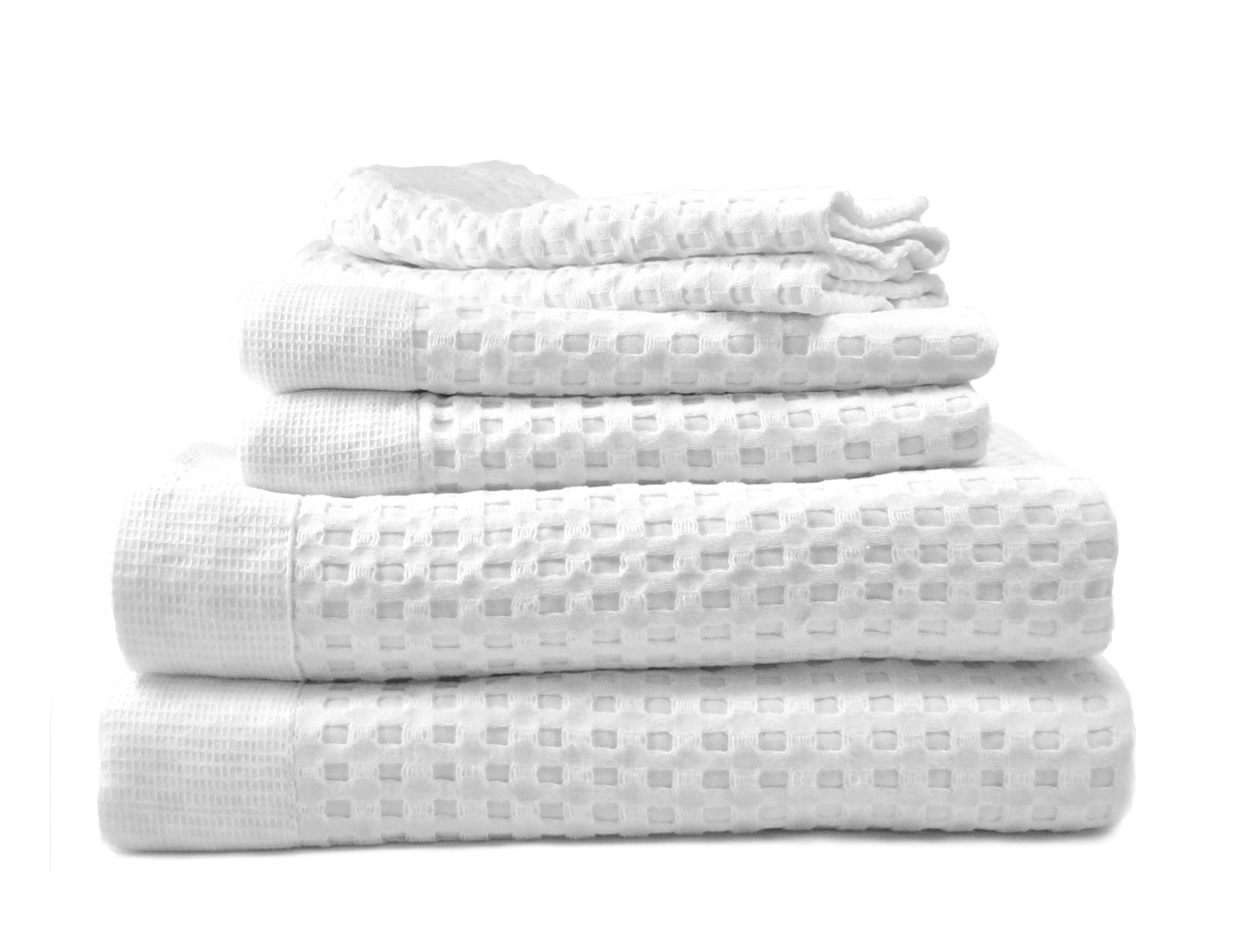 Gilden Tree 100% Natural Cotton Lattice Waffle Weave Bath Towel Set with Bath Mat (Slate)