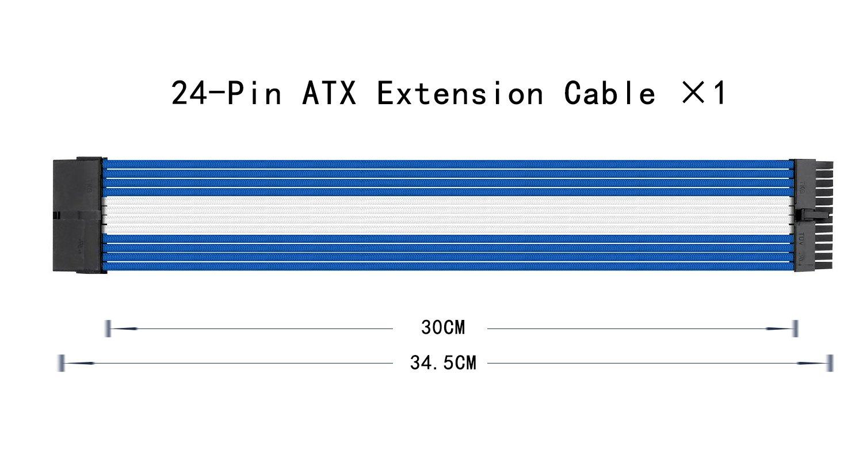 Kabelverlaengerung f/ür die Stromversorgung mit extrahoeller 24 Pin // 8pin M//B upHere Sleeved Cable 6+2 50cm Verl/ängerungskabel Kit Weiss 8pin 4+4