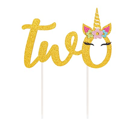Unicorn Two Cake Topper 2nd Birthday Decoration Magical Party Supplies