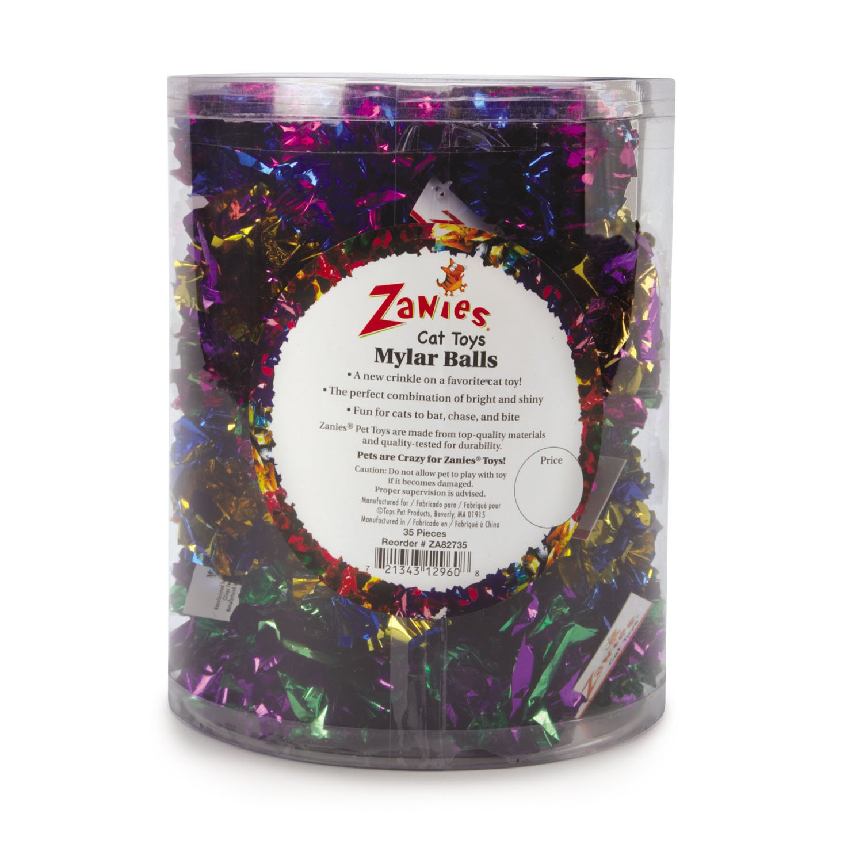 Zanies Mylar Balls Cat Toys, 35-Piece Canisters