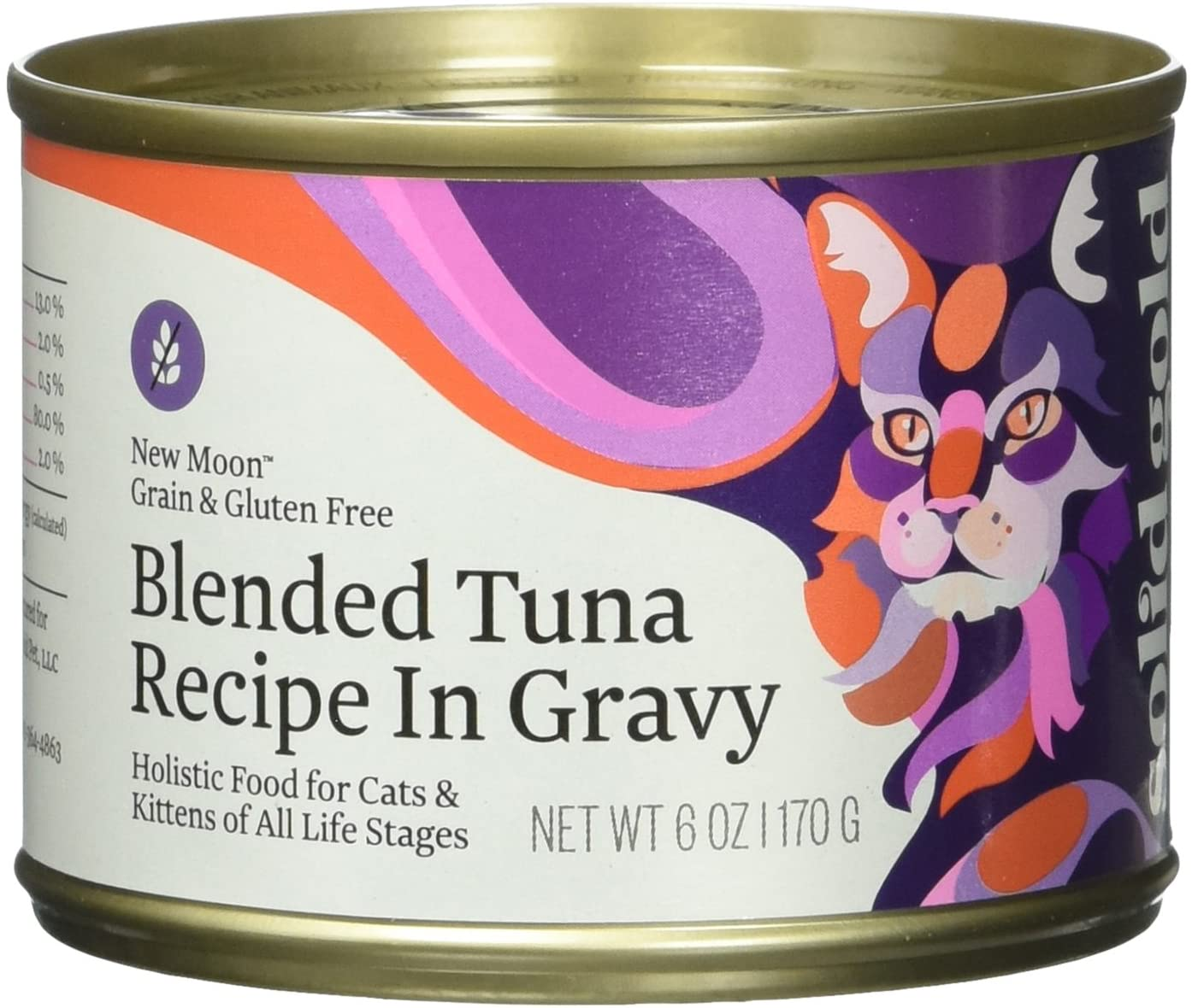 Solid Gold New Moon Holistic Wet Cat Food, Blended Tuna Recipe In Gravy, 6 Oz Can, 8 Count