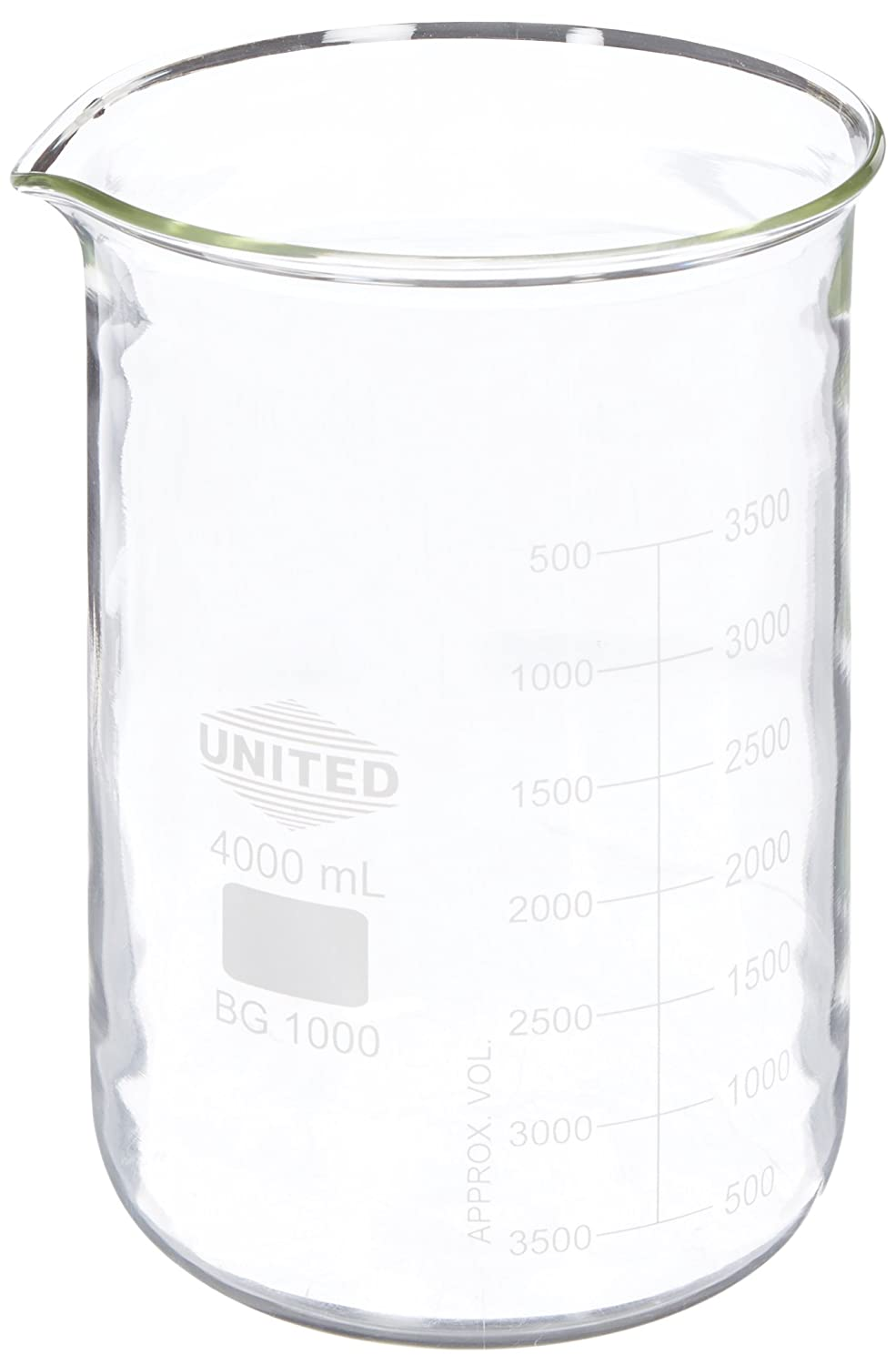 United Scientific BG1000-4000 Borosilicate Glass Low Form Beaker, 4000ml Capacity United Scientific Supplies