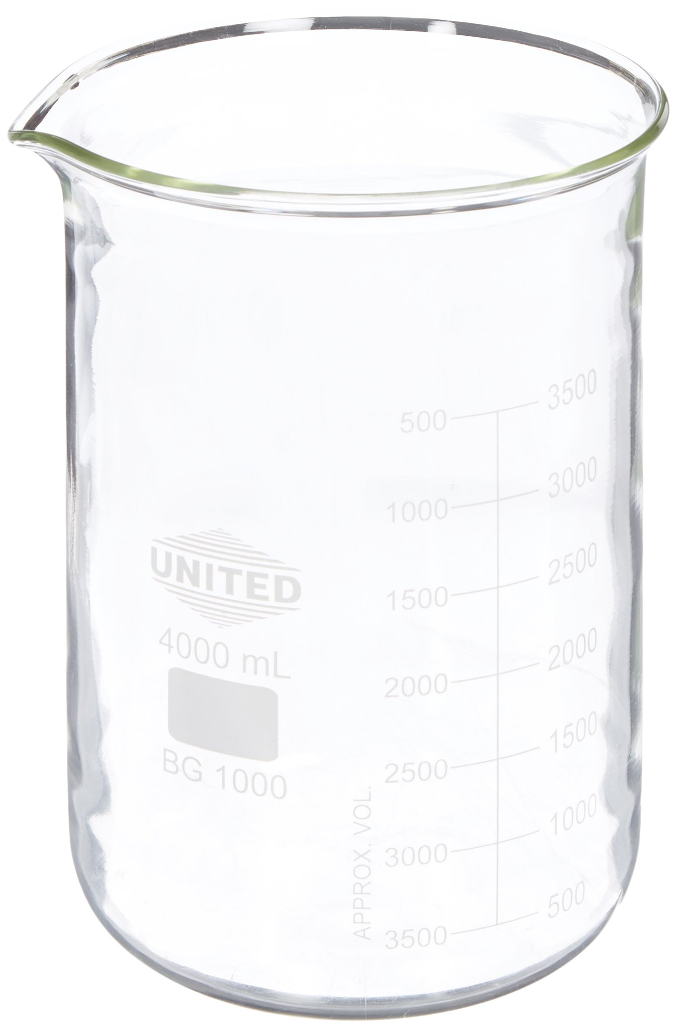United Scientific BG1000-4000 Borosilicate Glass Low Form Beaker, 4000ml Capacity