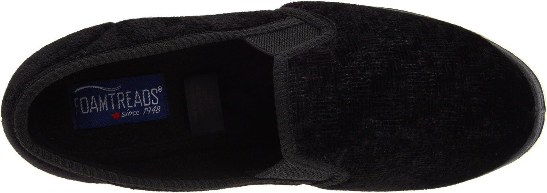 Foamtreads Debbie Slipper,Black Velour,6.5 W US