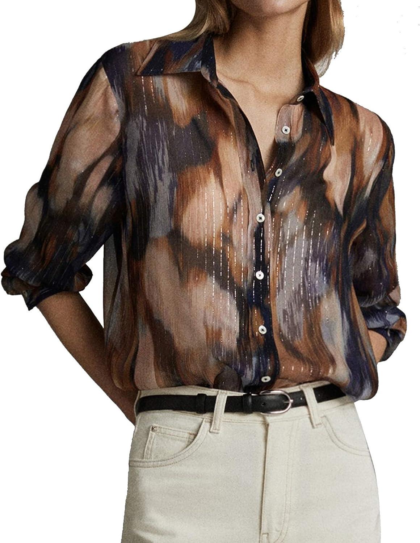 MASSIMO DUTTI 5121/814/920 - Camisa Estampada para Mujer Azul ...
