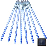 Vmanoo LED Outdoor Lights 8 Tube Meteor Shower Rain Lights Solar Powered Icicle...