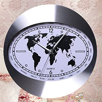 Amazon aluminum alloy creative fashion wall clock oval world aluminum alloy creative fashion wall clock oval world map clock face european and american style living gumiabroncs Choice Image