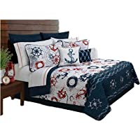 Harbour Anchor Quilt Bedding 5 Piece / Bedspread Quilt Cushion Set, Queen