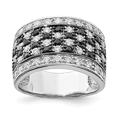 5af691ce427c5 Amazon.com: 925 Sterling Silver Black White Cubic Zirconia Cz ...
