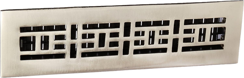 Decor Grates AJ212-NKL 2-Inch by 12-Inch Oriental Floor Register, Solid Brass, Brushed Nickel Finish