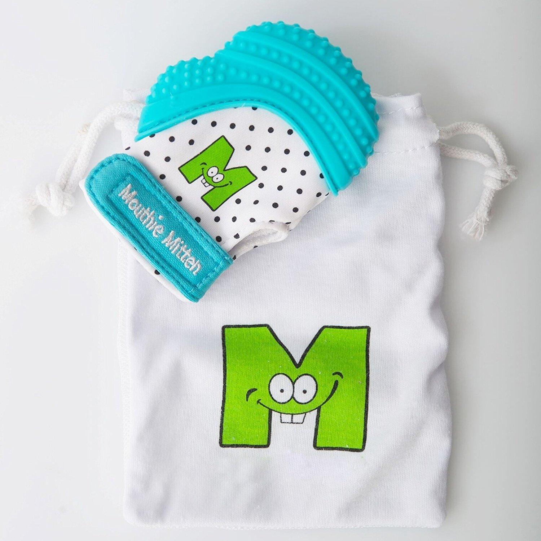 Anillo de dentición del bebé con el guante de dentición, el chupete de nacimiento de silicona y el clip de chupete. Juguete de dentición para ...