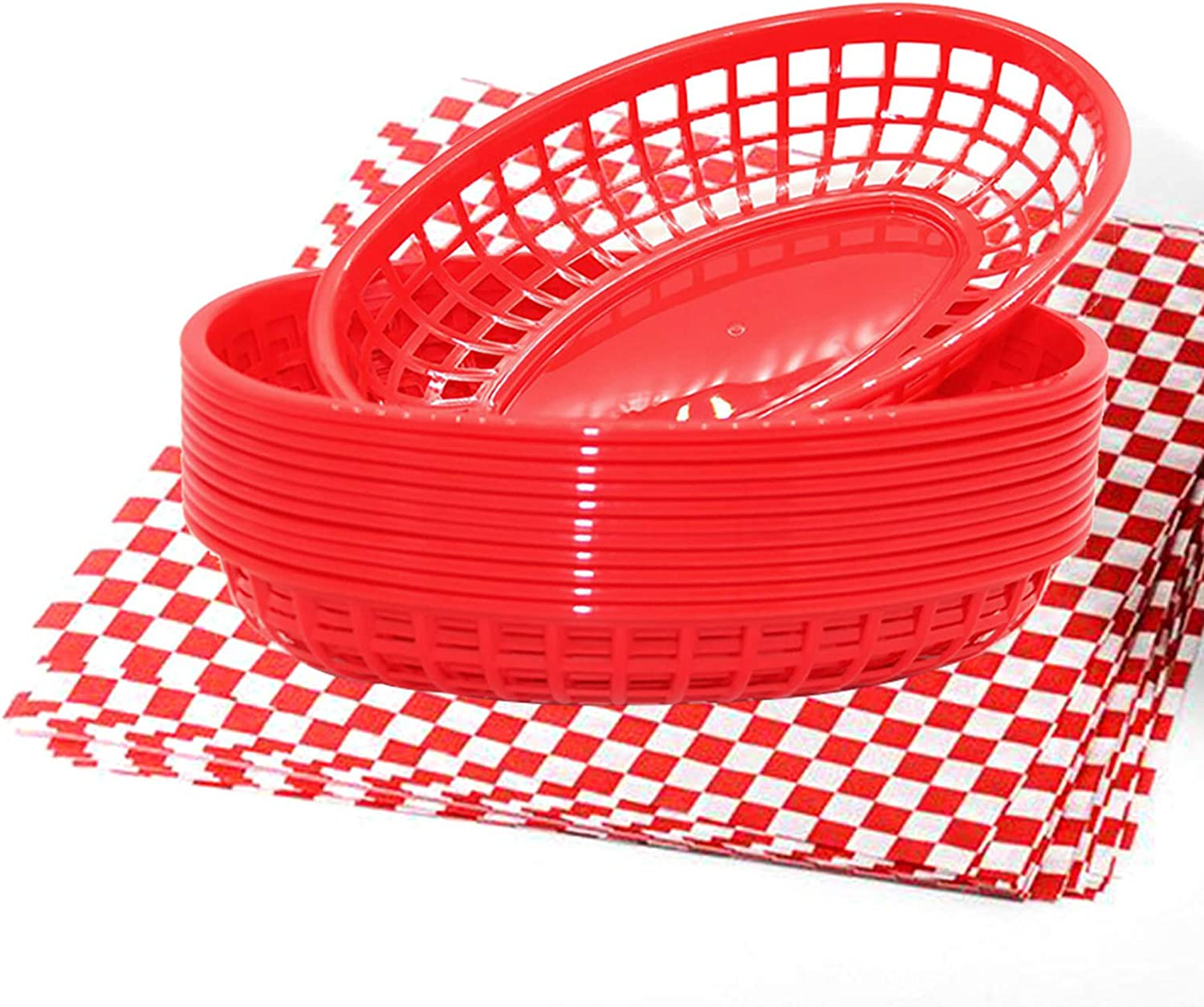 FEOOWV 12Pcs Oval-Shaped Plastic Fast Food Basket and 100 Pcs Checkered Paper for Fast Food Restaurant Supplies, Deli Serving, Bread Baskets, Burgers, Sandwiches & Fries (Red)
