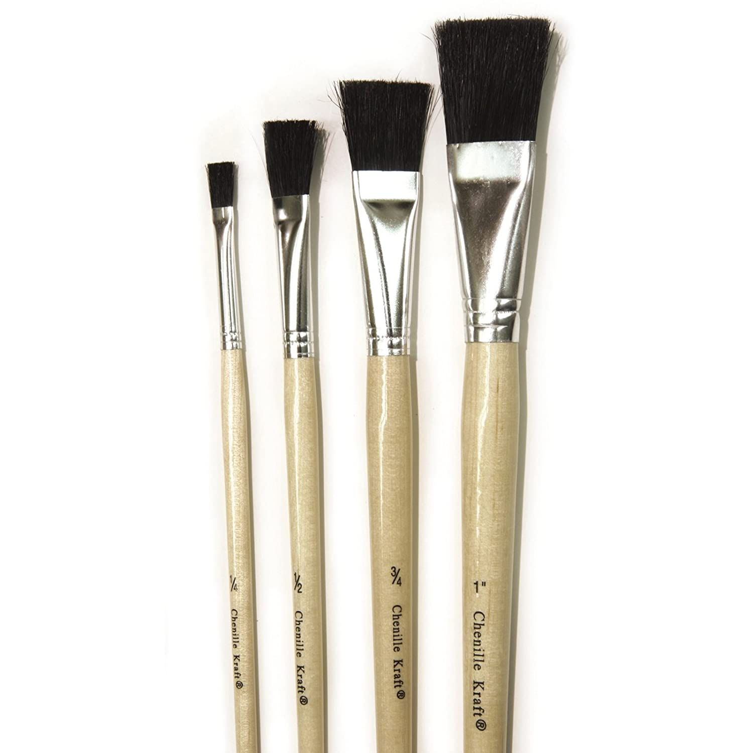 Chenille Kraft CK-5182 Assorted Stubby Black Bristle Easel Paint Brushes 2.9 Wide 4 per Package 10.6 Length 1.8 Height