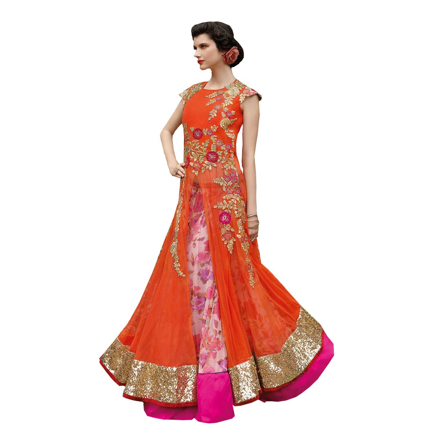 Amazon.com: Jay Sarees Net Designer Lehenga Gown Semi stitched with ...