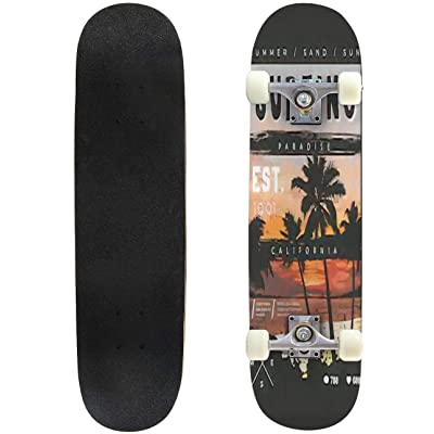 Classic Concave Skateboard Surfing Slogan on Sunset and Palm Trees Silhouette Illustration Longboard Maple Deck Extreme Sports and Outdoors Double Kick Trick for Beginners and Professionals : Sports & Outdoors