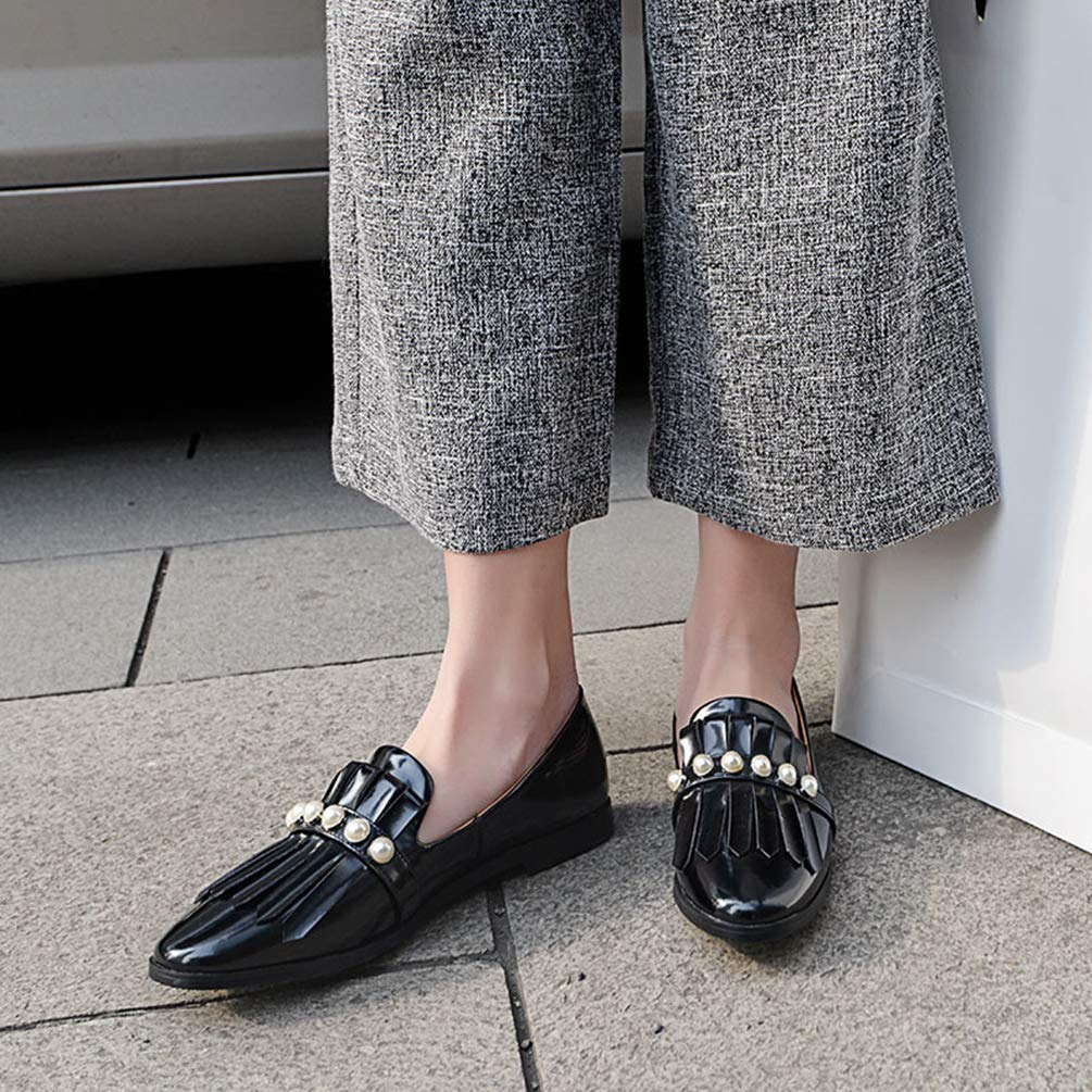 JOYBI Womens Slip On Moccasins Elegant Pearl Bead Tassel Decor Punk Retro Style Eye-Catching Soft Comfort Low Heel Office Casual Loafers