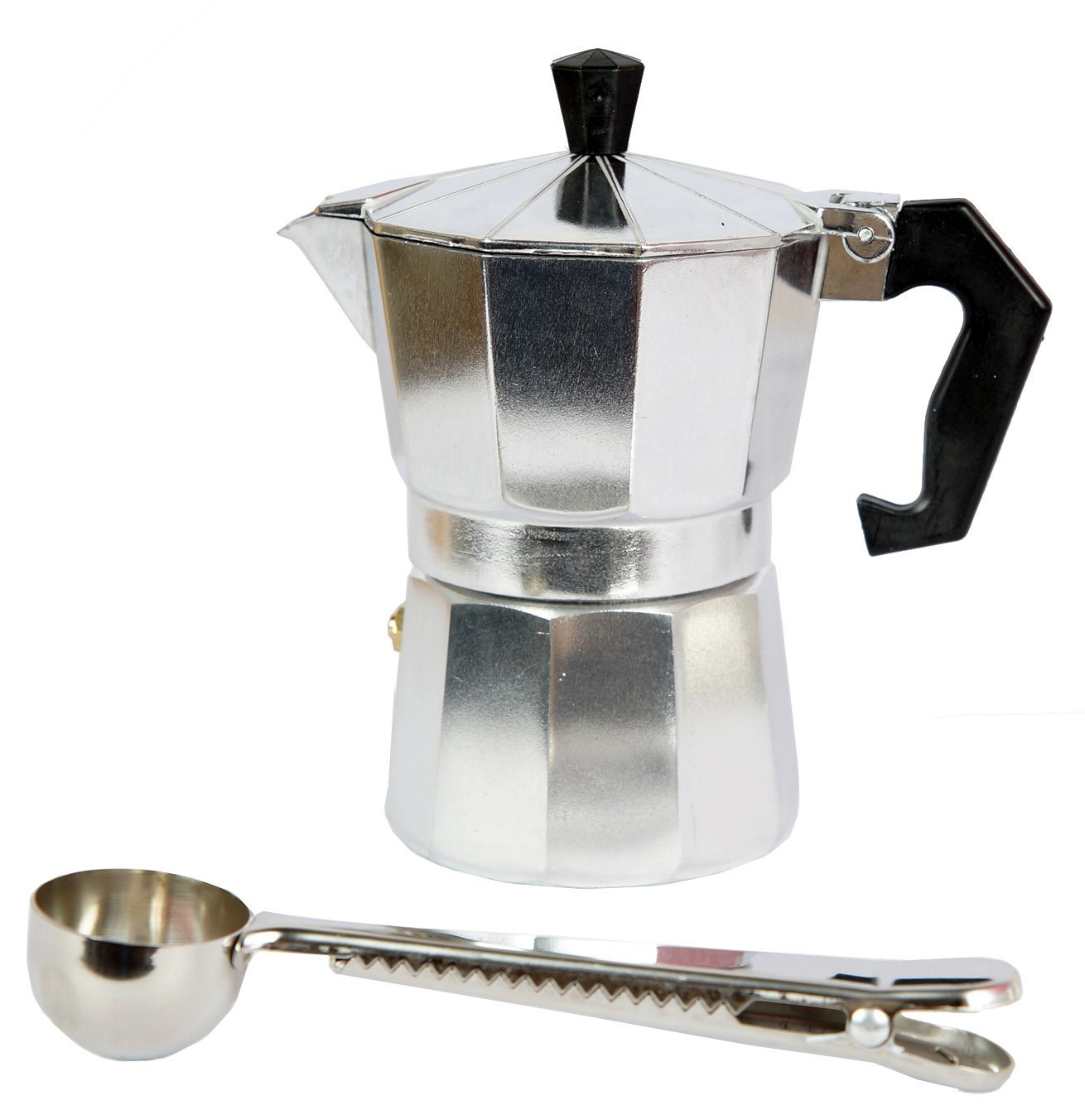 Mykumi Moka Pot 3 Cup Espresso Maker, Classic Aluminum for Gas, Electric and Ceramic Stovetop with Coffee Spoon (3 Cup)