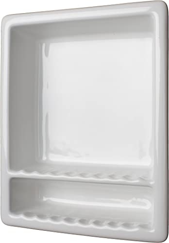 Sanitary Super 2 Tile Recessed Shampoo Shower Niche White Shelf
