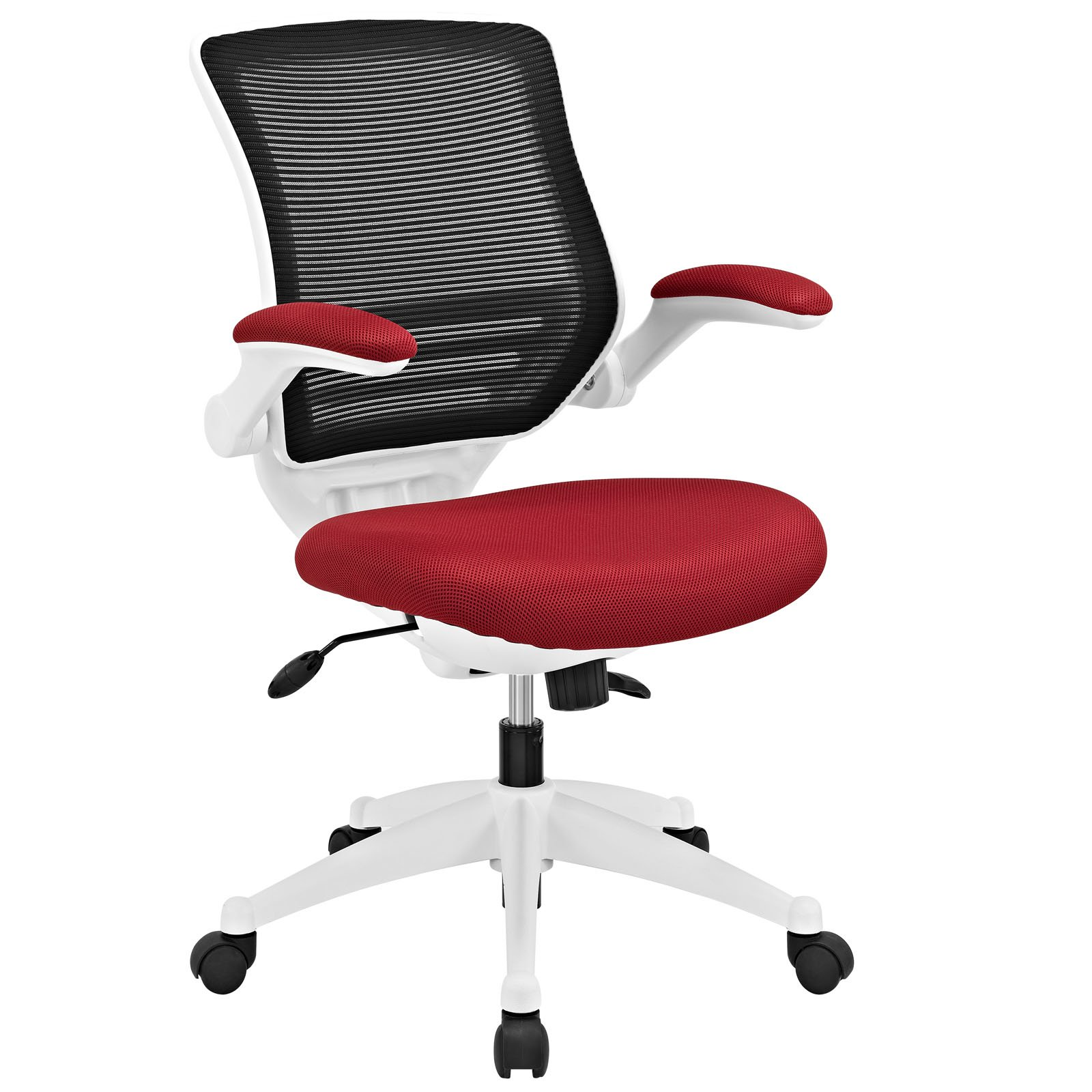 Modway Edge Mesh Back and Red Mesh Seat Office Chair With White Base And Flip-Up Arms - Ergonomic Desk And Computer Chair