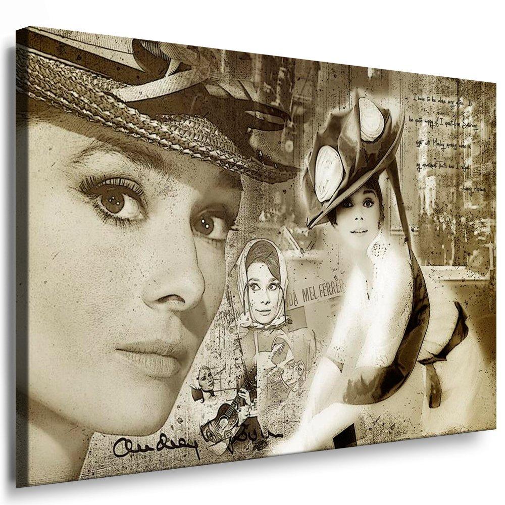 Bild auf Leinwand `Audrey Hepburn` 100x70cm k. Poster   Bild fertig auf Keilrahmen   Pop Art Gemälde Kunstdrucke, Wandbilder, Bilder zur Dekoration - Deko. Film   Movie   Tv Stars Kunstdrucke