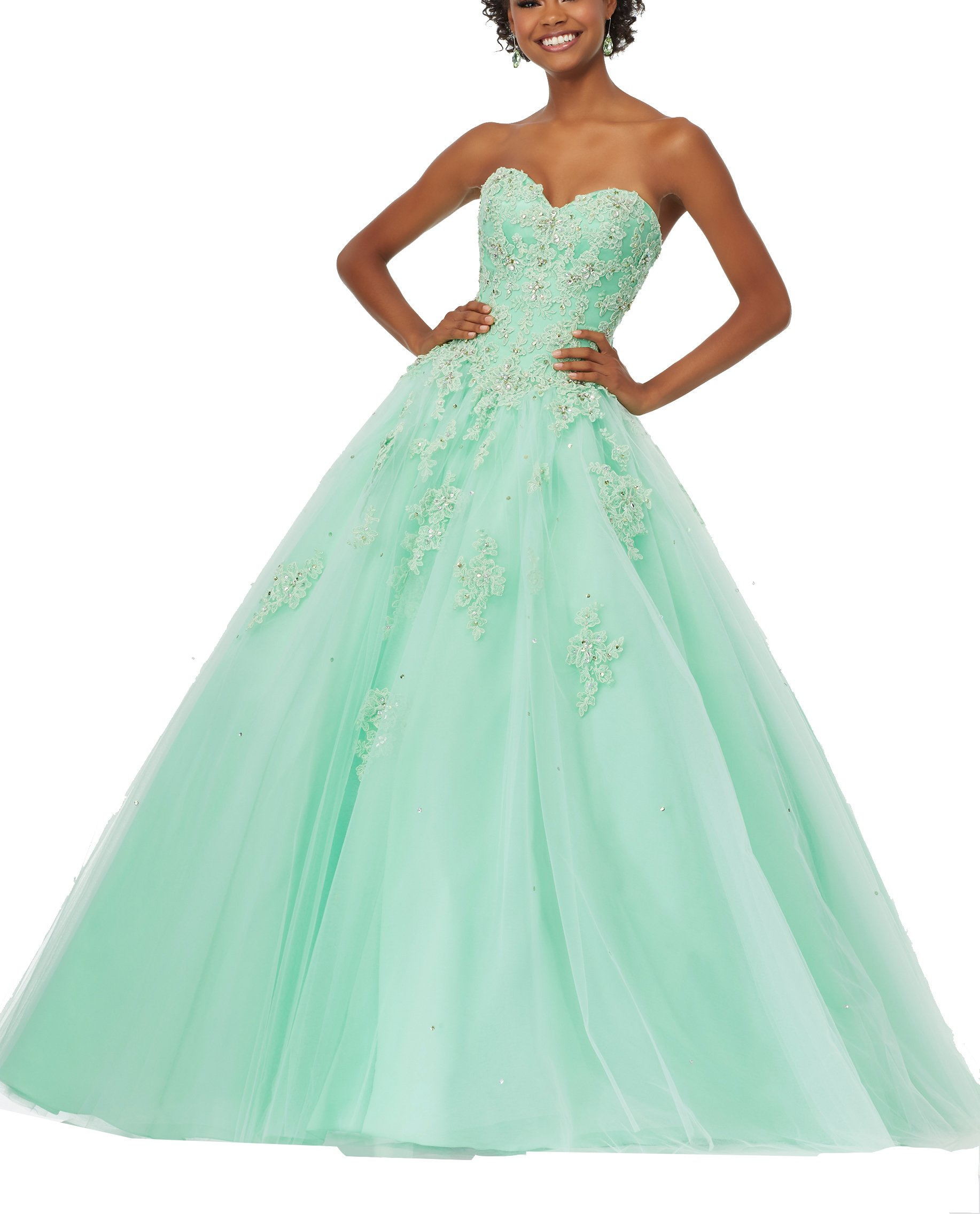 Elley Women's Sweetheart Lace Applique Strapless Sweet 16 Ball Gown Quinceanera Prom Dress Green US6
