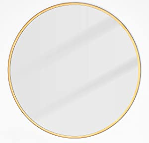 EMAISON Gold Metal Frame Mirror, 30 inch Round Modern Decorative Wall Mounted Mirror for Livingroom Bathroom