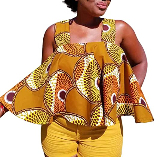 526d7db047a Limsea 2019 Spring Summer Women African Print Tee Shirt Sleeveless Tops  Strapless Blouse T Shirt Plus Size at Amazon Women's Clothing store: