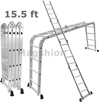 magshion multiusos de aluminio escalera paso plataforma andamio escalera extensible: Amazon.es: Bricolaje y herramientas