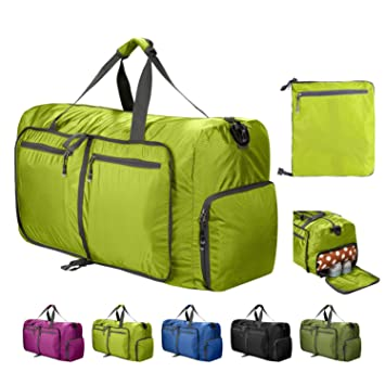 56817ae3a9ad 80L Duffle Bag Foldable Waterproof Large Lightweight Luggage Bag with Shoe  Compartment for Camping,Gym,Travel (Green-80L)