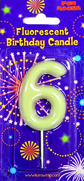 Superb Number 6 Glow In The Dark Birthday Cake Candle By Eurowrap Amazon Funny Birthday Cards Online Eattedamsfinfo