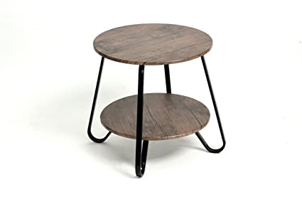 Vintage Dark Brown / Black Frame 2 Tier Round Shelf Side End Table