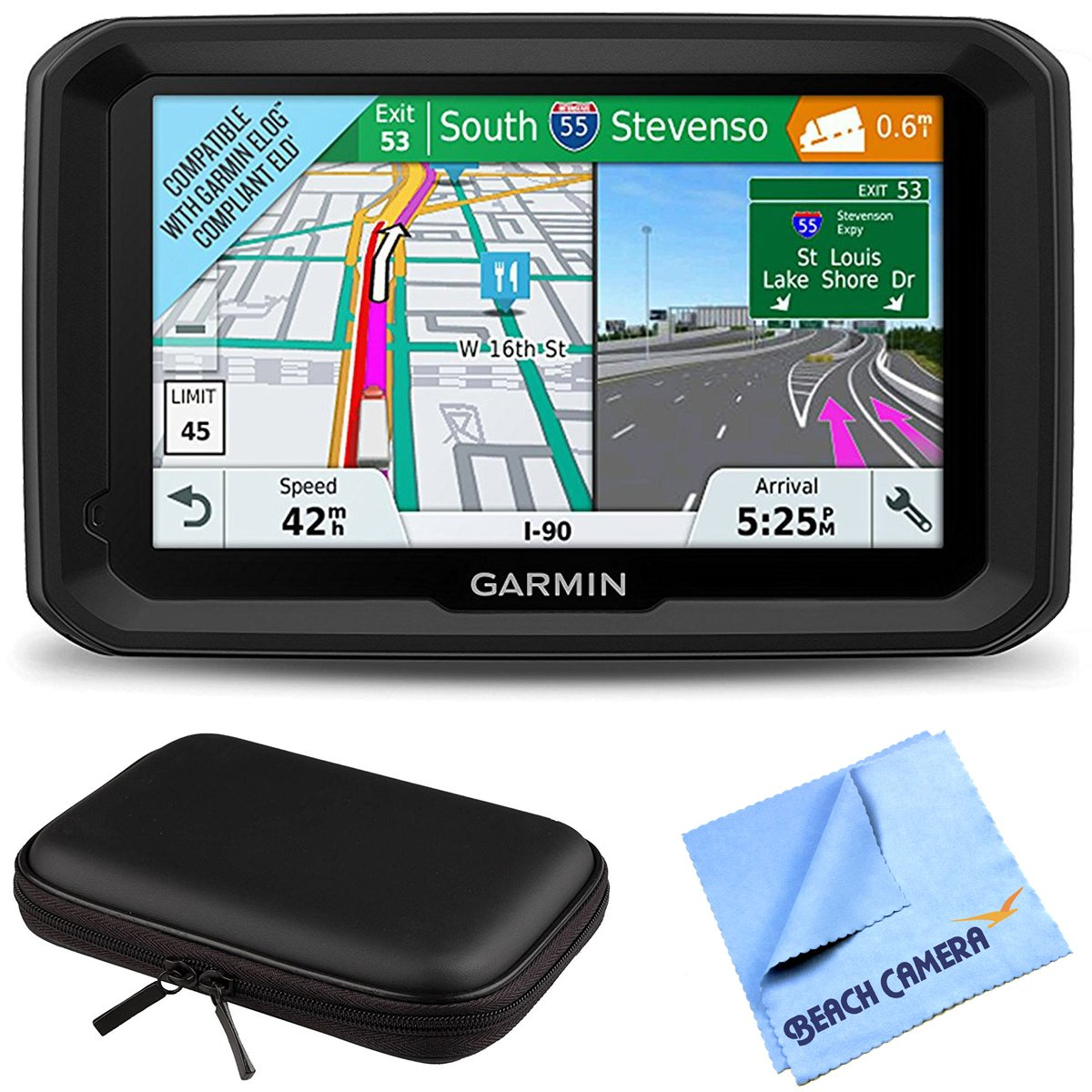 "Garmin 5"" GPS Navigator for Trucks & Long Haul (010-01858-02) 580LMT-S Bluetooth Voice Activated Live Traffic North America Lifetime Maps Bundle with Hard EVA 7"" Case & Microfiber Cloth"