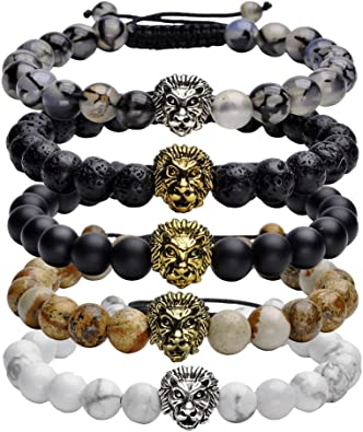 Men/'s Natural Stone Gold Lion Beaded Bracelet  Macrame Adjustable Bracelets Gift