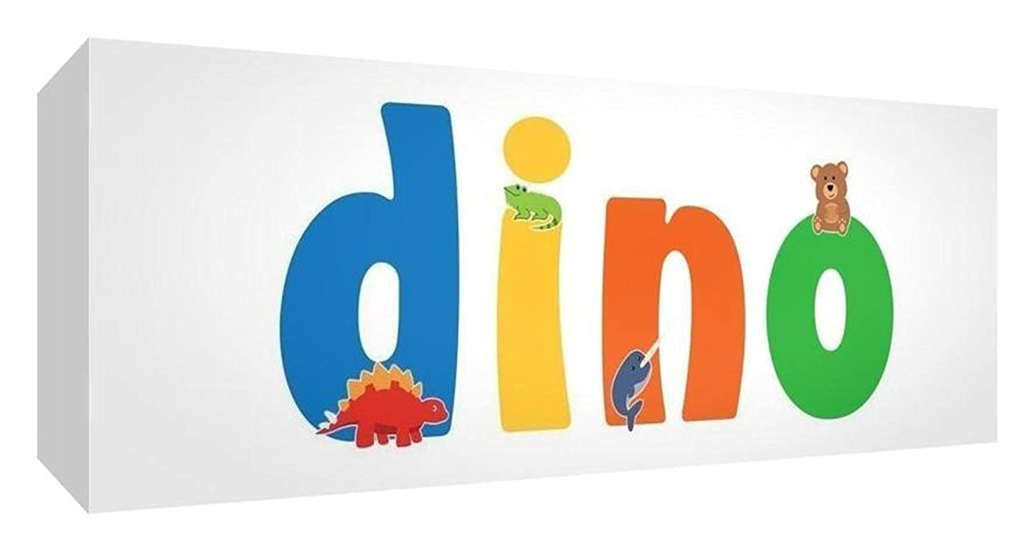 'Little Helper lhv-dino-1542 – 15it for Nursery Canvas with Front Panel, Drawing, Personalised with Name Boys Dino 21 x 59 x 4 cm multi-coloured Feel Good Art LHV-DINO-2159-15IT