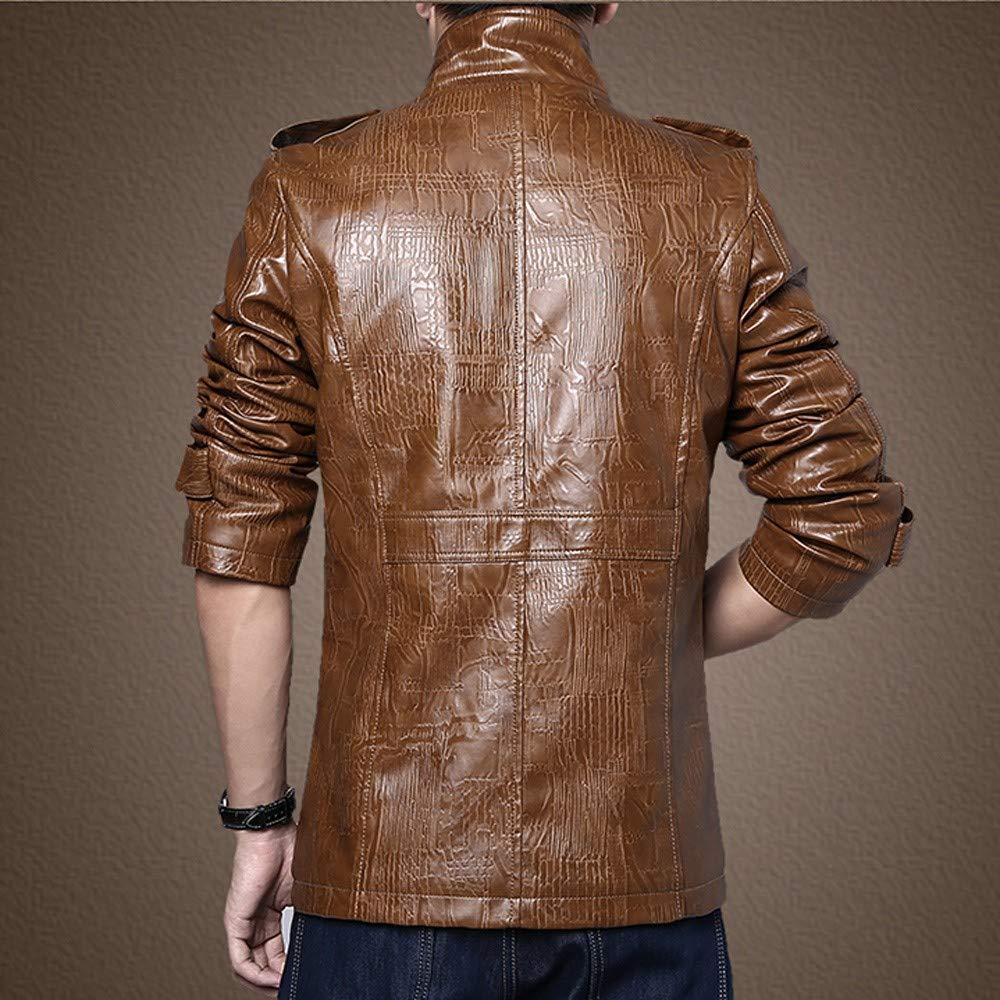 Mens Overcoat for MensAutumn Winter Pocket Stand Collar Imitation Leather Coat,Outdoor Coat