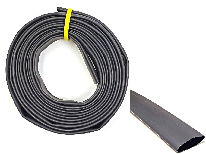 WindyNation 1.5'' ID 50 Feet Black 2:1 Polyolefin Heat Shrink Tube Tubing