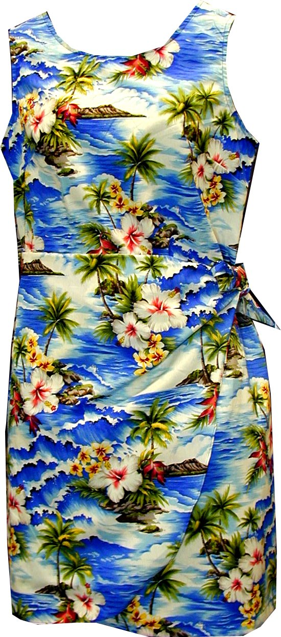 Pacific Legend Girls Diamond Head Ocean Wave Sarong Dress Blue 10