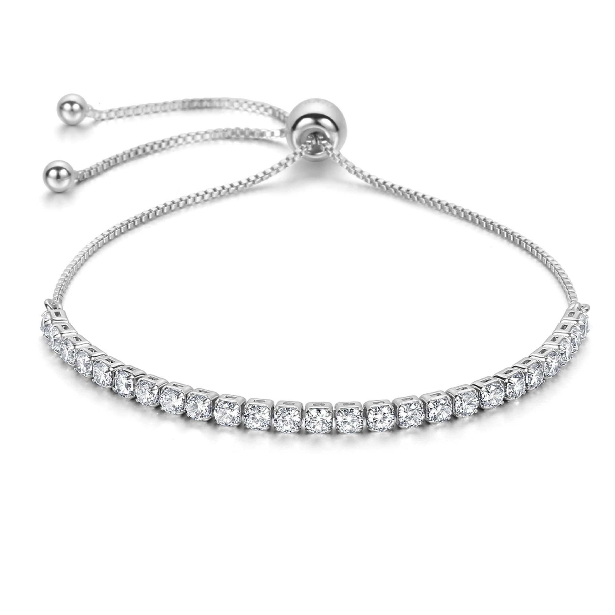 J.Fée Adjustable Bangle Bracelet Cubic Zirconia Diamond Silver Tone Bracelet for Women Christmas Birthday Gifts for Girls Wife Girlfriend Daughter for Sister Mom Her Link Bracelet