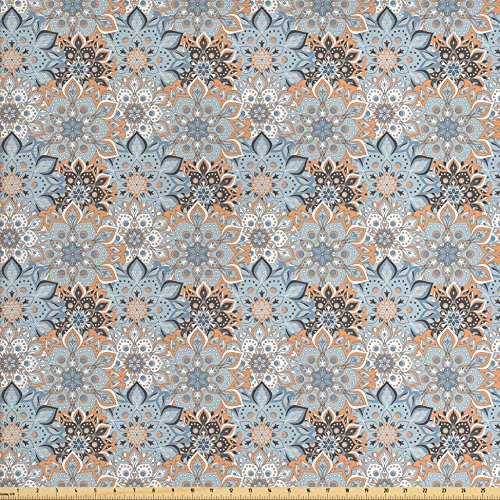 Elements Ottoman (Mandala Fabric by the Yard by Ambesonne, Vintage Ottoman Elements in Oriental Style Paisley Inspired Flourish, Decorative Fabric for Upholstery and Home Accents, Pale Orange Blue Black)