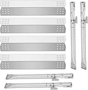 Boloda Grill Repair Parts Kit, BBQ Replacement Pipe Burner, 4 Pack Heat Plates Tent Shield for Grill Model Home Depot Nexgrill 720-0830H, 720-0830D, Grill Master 720-0697, 720-0737