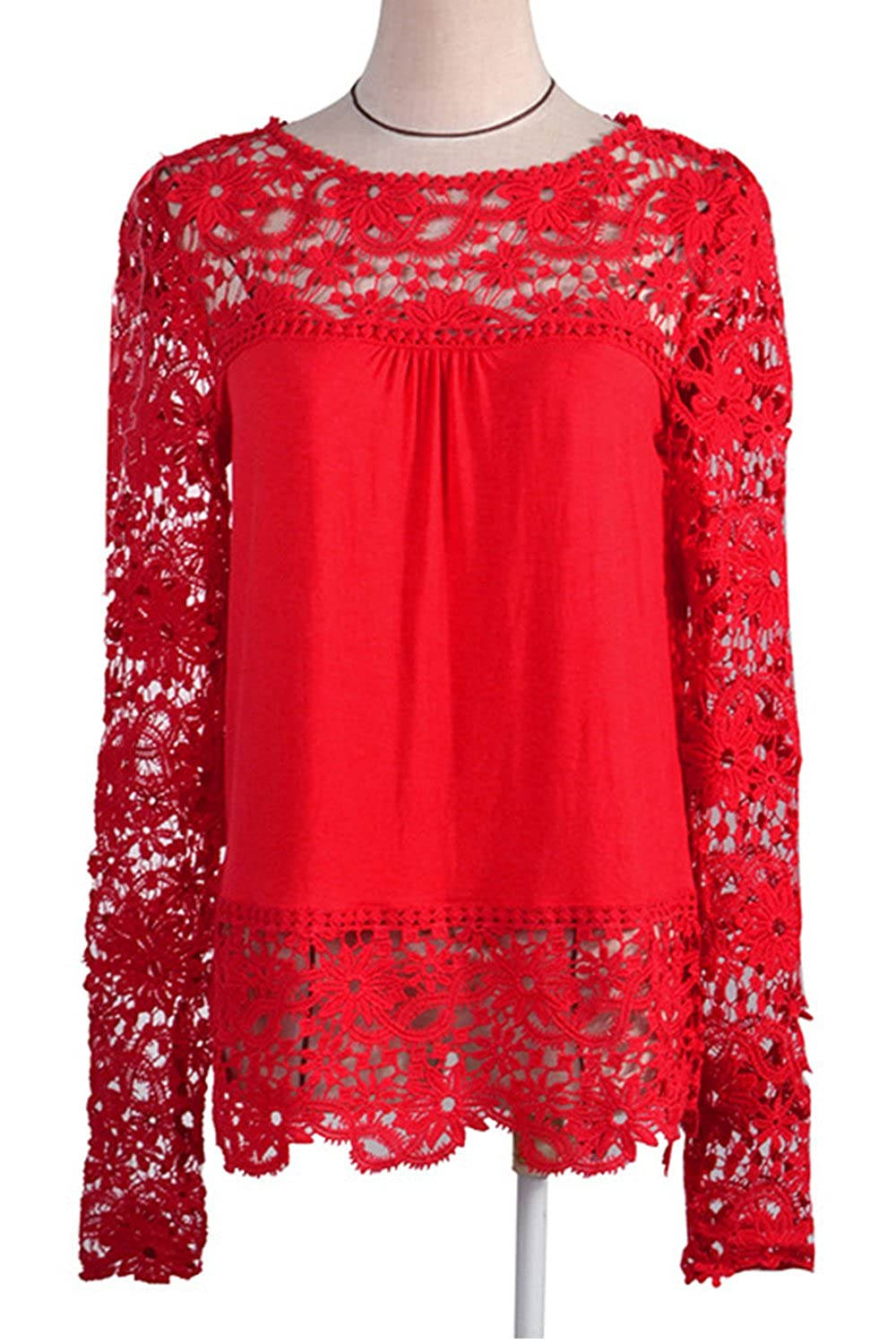 dd68612131 Zumeet Women Top Lace Decorated Loose Waist Shirt and Blouse Red at Amazon  Women s Clothing store